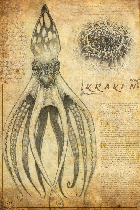 Kraken_by_night__wind.jpg - Kraken_by_night__wind. Mythical Creatures Art, Mythological Creatures, Magical Creatures, Sea Creatures, Myths & Monsters, Sea Monsters, Fantasy Kunst, Fantasy Art, Legends And Myths