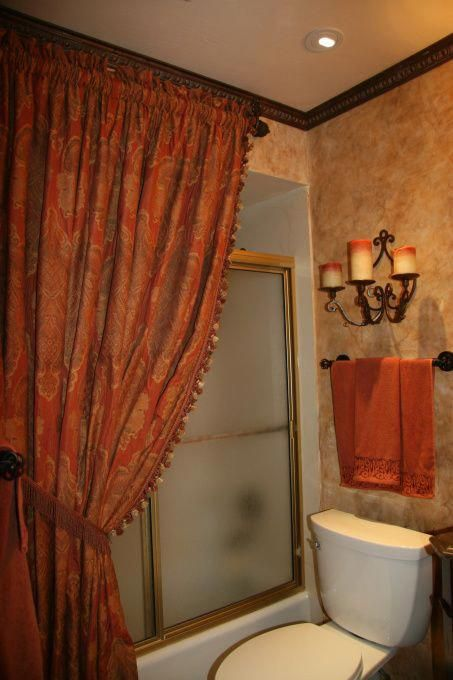 Shower Curtain Decorating Ideas.Tuscany Shower Curtain Old World Styled Bathroom