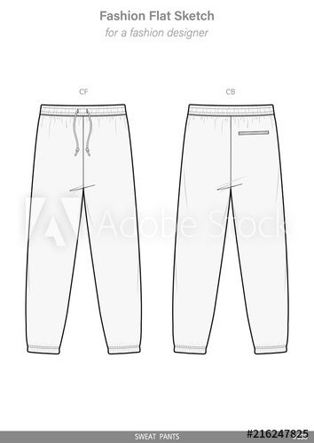 Sweat Pants Fashion Flat Sketches Technical Drawings Teck Pack