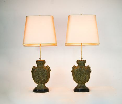 Large Brutalist Cast Iron Guan Yu Figurine Desk Lamps 1950s Set Of 2 Lamp Iron Lamp Desk Lamps