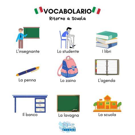 Let's review our Italian vocabulary🇮🇹 Si torna a scuola! Settembre è il momento perfetto per rivedere il vocabulario della scuola. Hai imparato una nuova parola? Facci sapere nei commenti!💬 www.ils-corsiitaliano.com info@ils-milano.com #ilsmilano #learnitalian #italian #milan