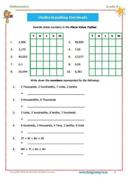 Grade 6 Maths Workbook 6 Decimal Fractions Math Addition Worksheets Grade 6 Worksheets Understanding Decimals Math grade 6 worksheets