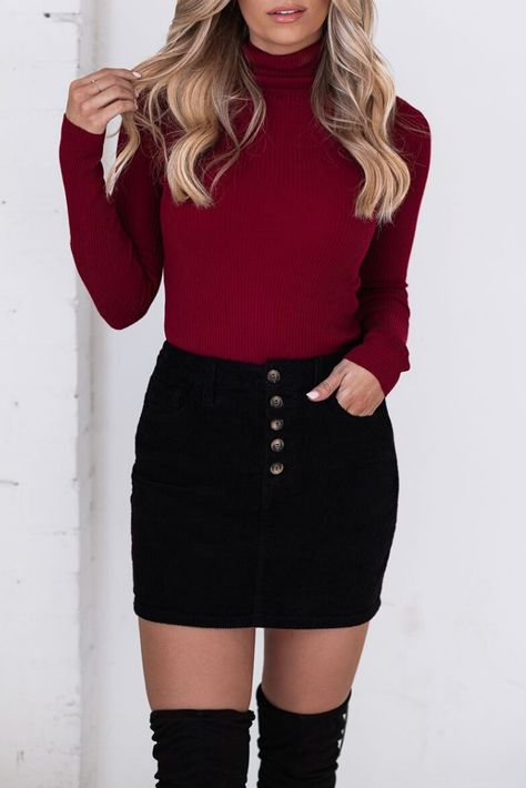 Cordelia Black Corduroy Skirt by Priceless. Love this black corduroy mini skirt outfit! These skirts are so cute and trendy for fall and winter. You can wear them to anything! Perfect skirt for every winter occasion. #letsbePriceless #WinterFashion #WinterOutfits #OutfitIdeas #OutfitInspo #WinterFashion #CollegeOutfits #CasualOutfit #FallFashion #StylingInspo