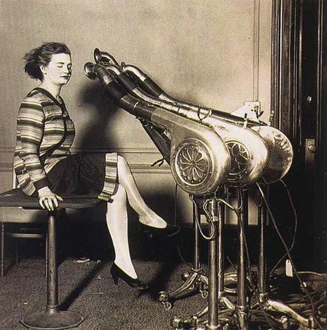 The hair dryer was actually invented in 1890 by Alexander Godefoy, but it didn't go public until 1920 when it was more efficient. Before 1920, women were basically using vacuums to dry their hair. This new invention, even though it overheated easily and was very large, was a big hit for the women. Hand held hair dryers came out in 1951.