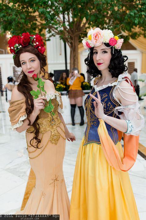 Beautiful Art Nouveau Belle & Snow White cosplay!