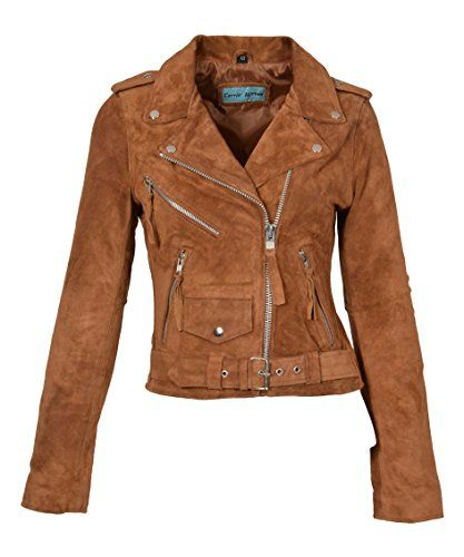 Ladies Fringe BRANDO Suede Leather Jacket Biker Motorcycle Style Real MBF