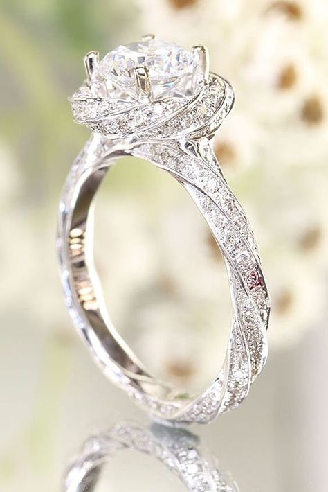 Carat Diamond Accents Twisted Flower Engagement Ring In White Gold Over. - Carat Diamond Accents Twisted Flower Engagement Ring In White Gold Over. Engagement Ring Rose Gold, Wedding Engagement, Wedding Bands, Solitaire Engagement, Twist Engagement Rings, Flower Wedding Rings, Flower Shaped Engagement Ring, Beautiful Engagement Rings, Intricate Engagement Ring