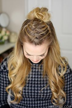 Triple French Braid Double Waterfall Mini Bun