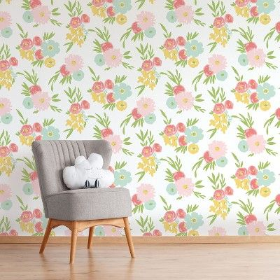 Find Product Information Ratings And Reviews For Peel Stick Wallpaper Floral Fields Cloud Is Nursery Room Design Floral Wallpaper Floral Wallpaper Nursery
