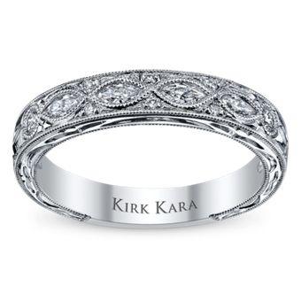 Kirk Kara 18K White Gold Diamond Anniversary Ring/Wedding Band, 1/3 Carat TW