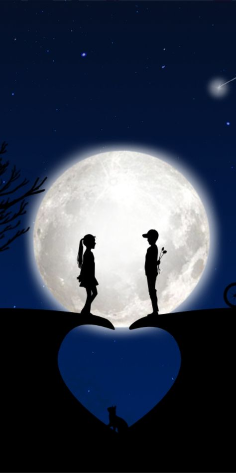 Heart, moon, couple, silhouette, art, 1080x2160 wallpaper
