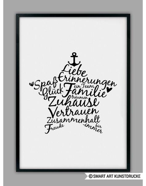 Familien Poster, Stern Kunstdruck / family art print with ...
