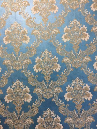 Victorian Blue And Gold Damasks Wallpaper Gold Damask Wallpaper