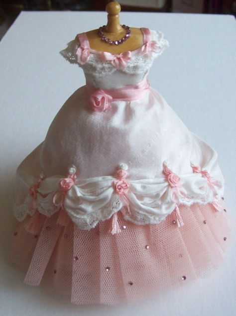 Beautiful Handmade scale dollhouse miniature ivory silk and pink net ballgown on mannequin
