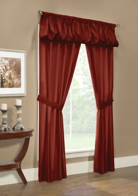 Commonwealth Home Fashions Prescott 5 Piece Curtain Set Burgundy