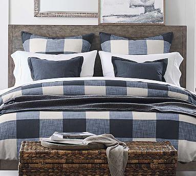 Bryce Buffalo Check Duvet Cover Amp Sham Navy Potterybarn Bed Linens Luxury Luxury Bedding Sets Bed Linen Design