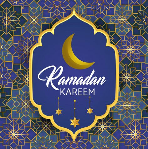 Download Label With Moon And Stars To Ramadan Kareem For Free En