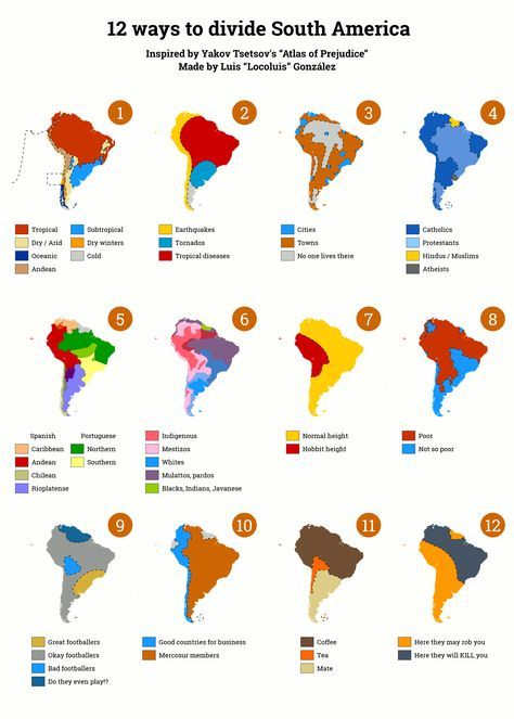 12 Ways To Divide South America Life South America Map