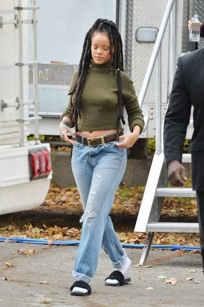 sweater cropped sweater slide shoes jeans boyfriend jeans rihanna fall out