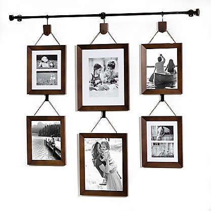 Gallery 6 Photo Hanging Bar Frame Set In Satin Black Picture Collage Wall Wall Collage Picture Frames Wall Gallery
