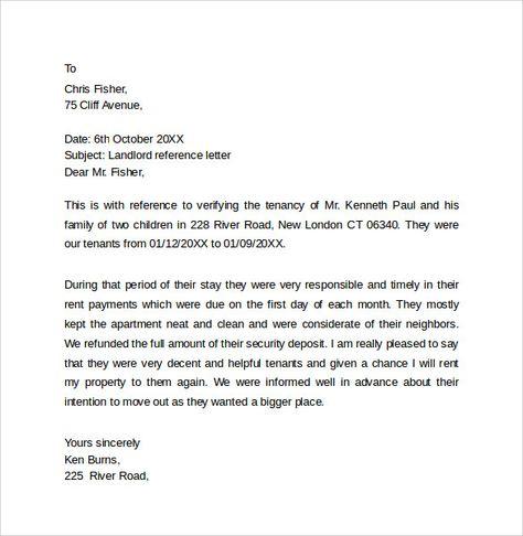 Landlord Reference Letter Reference Letter Reference Letter