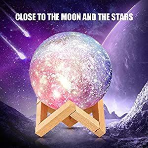 Moon Lamp Rechargeable 3d Printing Moon Light Lamp Remote Touch Control With Wooden Stand 16 Colors Lunar Night Light For Kids Women Birthday Gifts Diameter 6 In 2020 Night Light Kids Moon Light Lamp Birthday