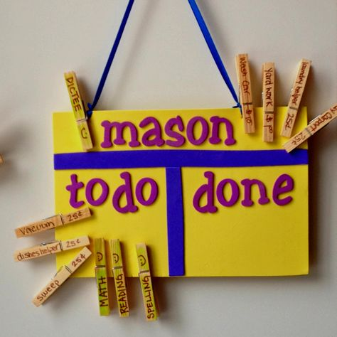 """Chore and Homework chart!    Easy to make with felt and sticky felt letters from the dollar store. Write chore and dollar amount on the clothespin and put in the """"to do"""" then the kids can move them over to the """"done"""" side upon completion. Homework doesn't get a dollar amount!  Maybe a reward at the end of the week for doug all homework  (ice cream, etc). Colorful, simple and useful!!!"""