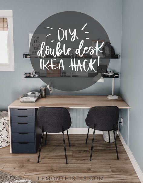 Ikea Double Desk Hack Using The Alex Drawers Looks So Modern With The Waterfall Edge And Light Plywood In 2020 Double Desk Furniture Hacks Ikea Desk Hack