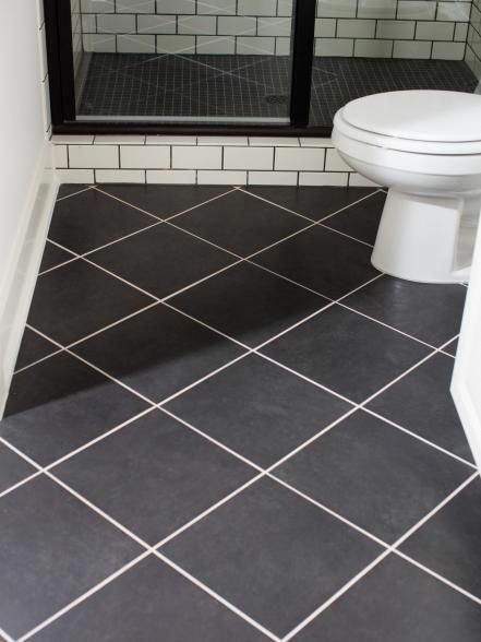 The Terrace Suite Bathroom Floor Features 12x12 Black Ceramic Tiles Laid In A Diagonal Pattern And Grouted Ceramic Tile Bathrooms Bathroom Flooring Tile Layout