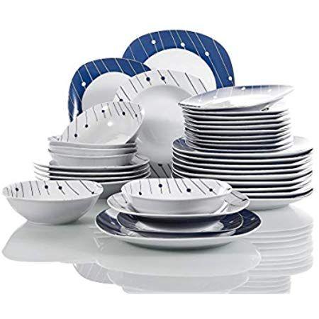 Amazon De Malacasa Serie Elisa 24 Teilig Set Porzellan Tafelservice Kombiservice Geschirrset Mit Je 6 Speiseteller Tafelservice Kombiservice Dessertteller
