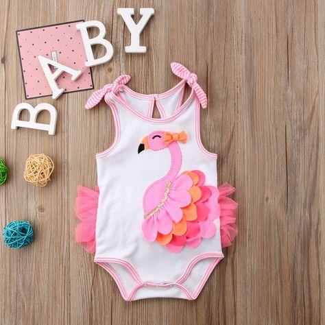 Baby 3D Flamingo Print Bodysuit | Baby girl swimsuit