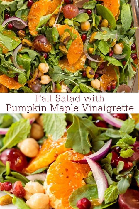 This vibrant fall salad is the perfect way to embrace autumn. It's with loaded healthy, seasonal ingredients and a fabulous pumpkin dressing. #fallsalad #healthysalad #bestsaladrecipes