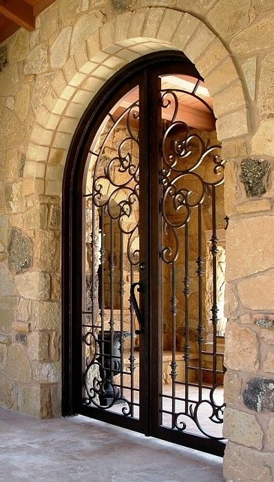 Wood Dog Gate Ideas On Foter Wrought Iron Doors Iron Doors Wrought Iron Gates