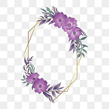 أنيقة زفاف ألوان مائية الزهور الإطار مع الإطار الذهبي الهندسي خلفية نمط زهرة Png والمتجهات للتحميل مجانا Flower Drawing Flower Clipart Hand Drawn Flowers