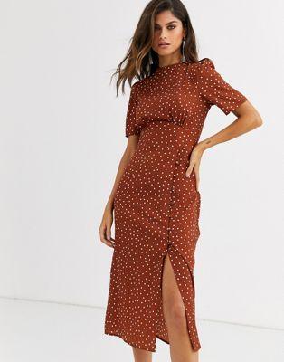 Asos Design Midi Tea Dress With Buttons In Polka Dot All Over Spot Print High Neck Short Sleeves Button Detail To Skirt Regular In 2020 Tea Dress Asos Designs Dresses