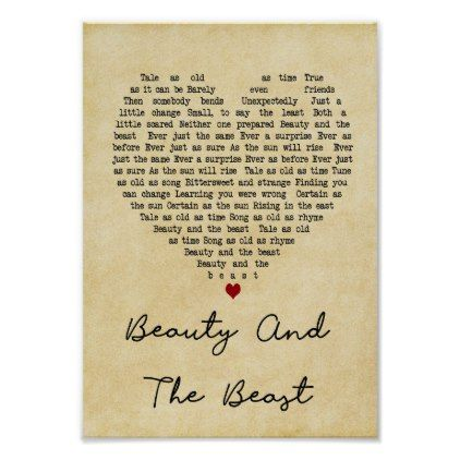 Beauty And The Beast Vintage Heart Song Lyric Poster Zazzle Com