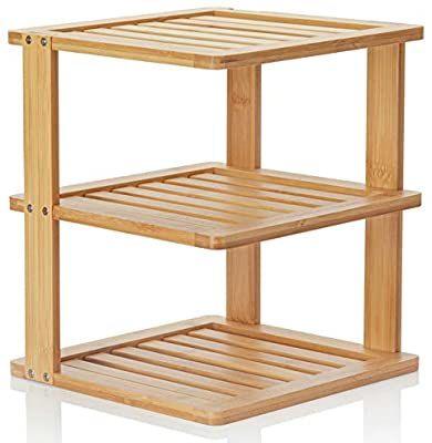 Amazon Com Beryland Estanteria Esquinera De Bambu De 3 Niveles De 10 X 10 Pulgadas Y 11 5 Pulgadas De Alto Organ In 2020 Corner Shelves Corner Storage Bamboo Shelf
