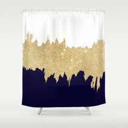Modern Navy Blue White Faux Gold Glitter Brushstrokes Shower