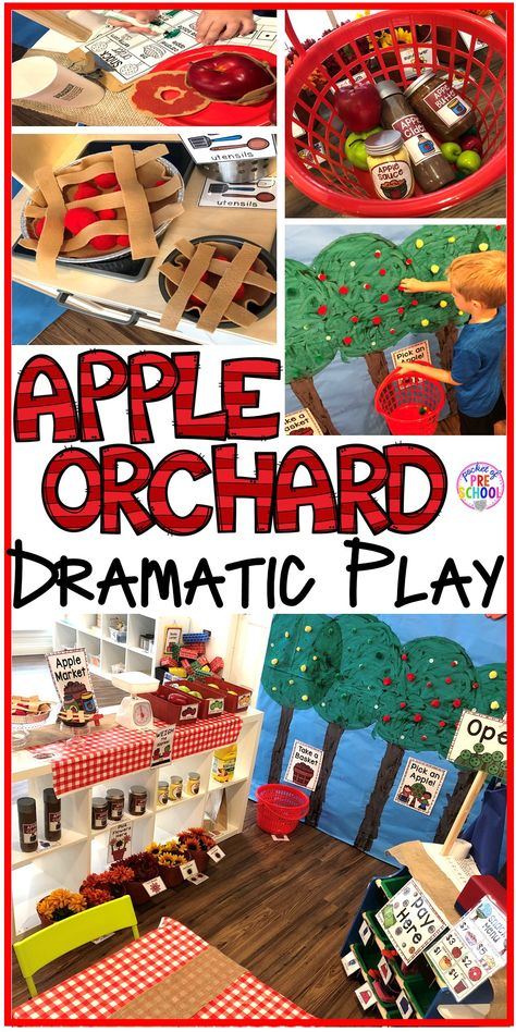 Apple Orchard Dramatic Play – Pocket of Preschool Apple Orchard Dramatic Play – How to change pretend into an Apple Orchard. Lot of DIY tips for preschool, pre-k, and kindergarten classrooms. Dramatic Play Themes, Dramatic Play Area, Dramatic Play Centers, Preschool Apple Theme, Fall Preschool Activities, Toddler Activities, Halloween Activities, Kindergarten Fun, Family Activities