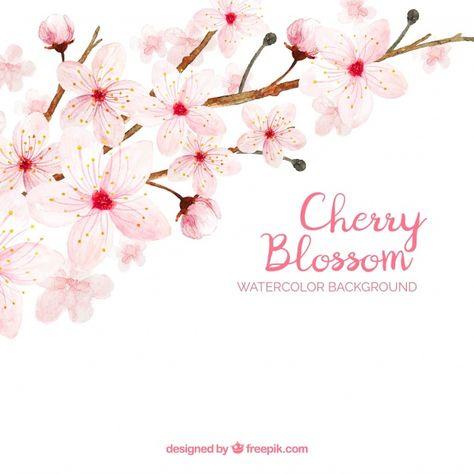 Telechargez Fond De Fleur De Cerisier Dans Un Style Aquarelle