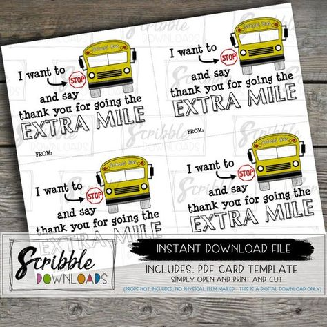 photo about Bus Driver Thank You Card Printable referred to as sarah m design: freebies: bus driver thank yourself present tags.