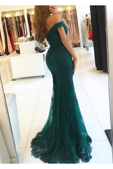 Mermaid Off-the-Shoulder Beaded Lace Appliques Long Prom Formal Evening Party Dresses #motherofthebridedresses #motherofthegroomdresses #elegantmotherofthegroomdresses