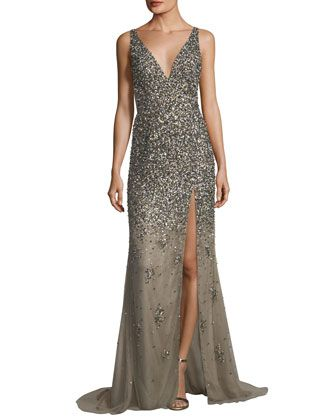 804e70974253 Sequined Deep V-Neck Evening Gown by Jovani at Neiman Marcus ...