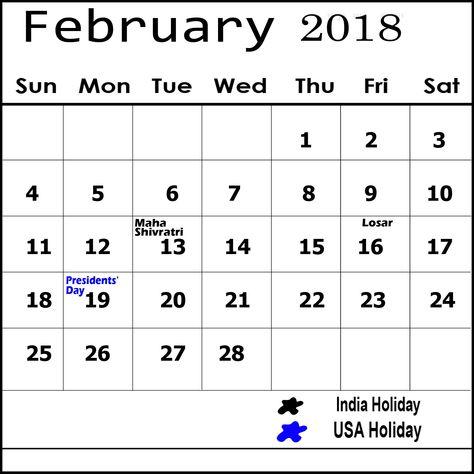February 2019 Calendar With Holidays India Holiday Calendar