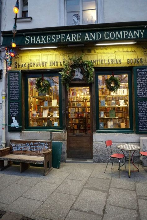 shakespeare and company bookstore paris shopfront yellow green