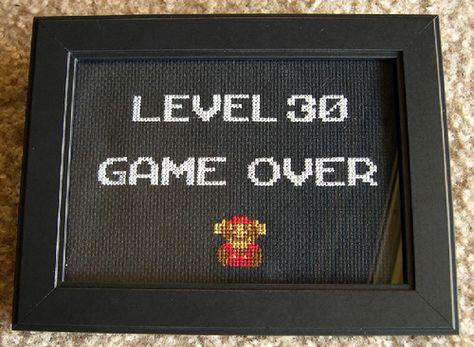 Nes Era Super Mario Game Over 30th Birthday Cross Stitch
