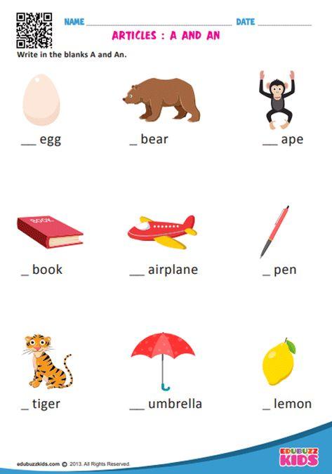 English Articles Worksheets Kindergarten