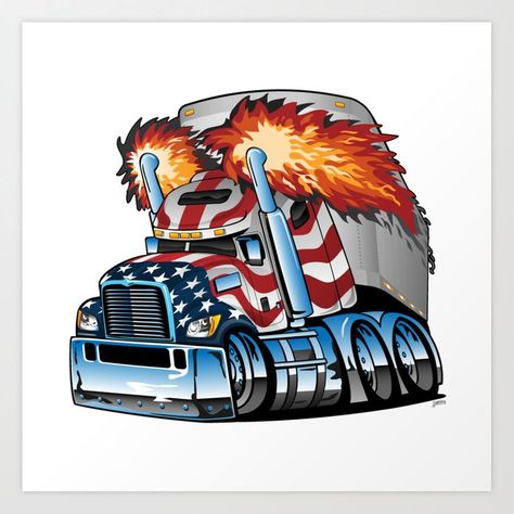 Semi Cars Small Trucks Truck Art Big Trucks Car Cartoon