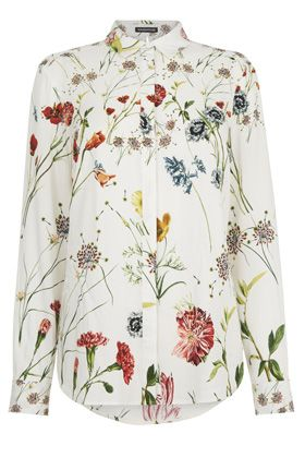 Shirts Blouses Cream Scatter Floral Shirt Warehouse