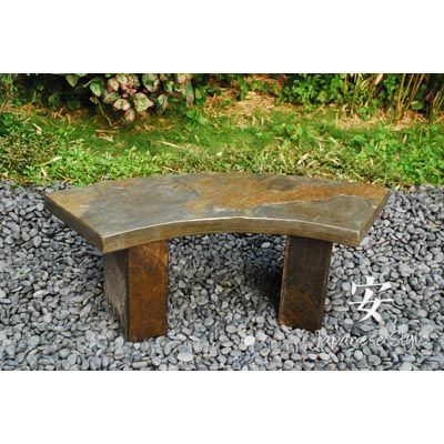 Curved Slate Bench For A Beautiful Place To Sit And Enjoy Your Stunning Garden Bench Curved Garden Japanese Slate In 2020 Kleiner Japanischer Garten